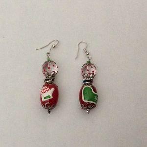 Dangle Earrings Holidays Mitt,sock Art Glass